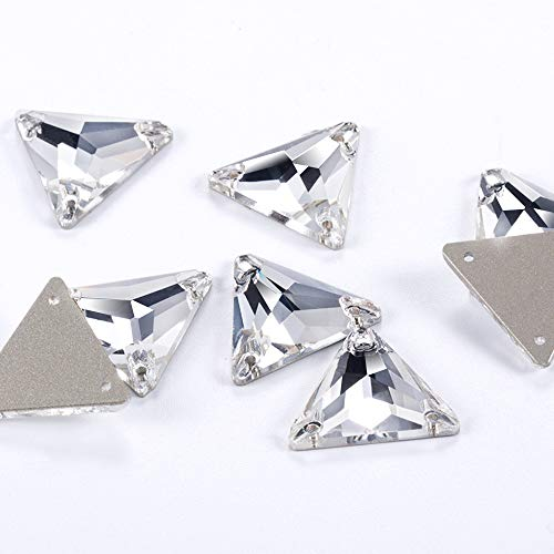 Sew on Rhinestones Crystal AB Buttons Flatback Triangle Stones Charm Crafts Loose Rhinestones Beads for Shoes Fabric Clothes Dress Wedding (Crystal Clear, 16mm-18pcs)