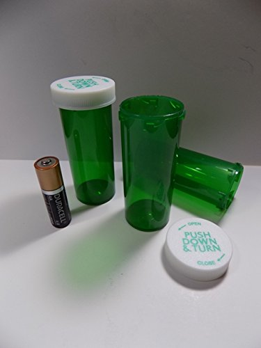 Plastic Prescription GREEN Vials/Bottles 25 Pack w/Caps Larger 16 Dram Size-NEW