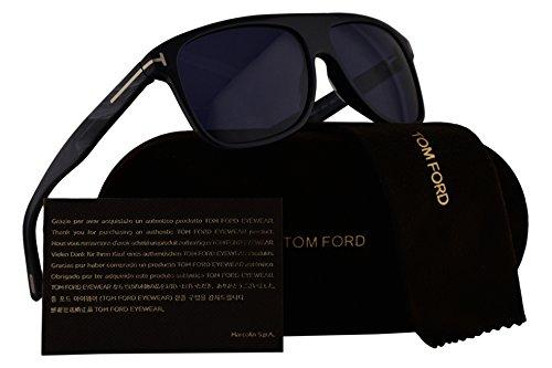 Tom Ford FT0501 Inigo Sunglasses Dark Gray w/Blue Lens 20V - Blue Sunglasses Tom Ford