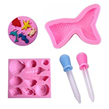 Silicone Candy Mold Mermaid Tail Sea Shell Fondant Molds for Jelly Suger, Chocolate Cake Decoration - Come with 2 Dropper