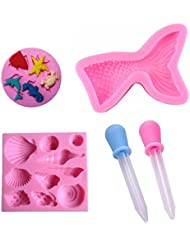 Mermaid Silicone Candy Mold Mermaid Tail Seashell Fondant Molds for Jelly Suger, Chocolate Cake Decoration - Come with 2 Dropper