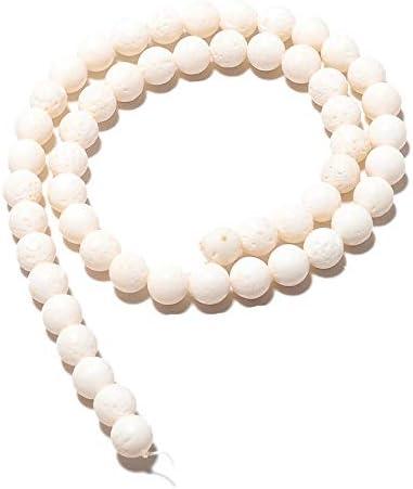 LOVEKUSH Cuentas raras 5 hebras al por mayor perlas redondas de coral blanco, cuentas de coral texturizadas, perlas redondas de 8 mm, collar de coral blanco, 15 pulgadas cada Code-RM453