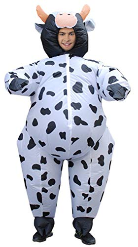 Inflatable Costumes Adult,Halloween Funny Animal Cow Costume Blow up Cosplay Costume(Free Size) ()