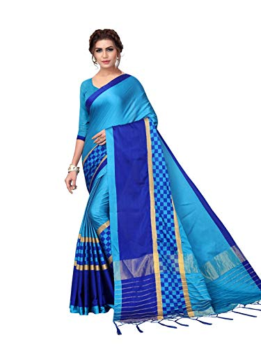 KANCHNAR Women's Blue Poly Silk Plain and Checks Saree with Unstitched Blouse ()