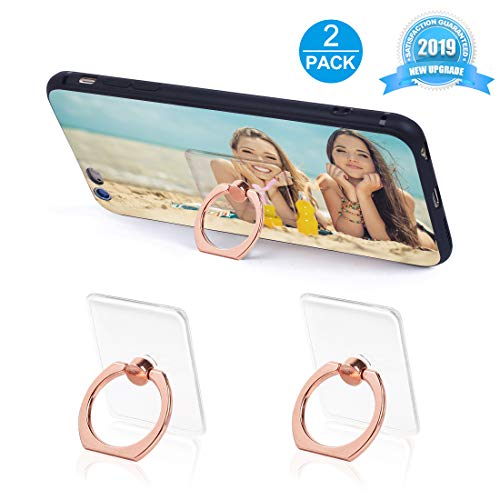 Phone Ring Holder Phone Ring Transparent Ring Holder for Cell Phone 360 Degree Rotation and 180 °Flip Phone Ring Grip Finger Ring Stand Kickstand Compatible Various Mobile Phones (Rose Gold)