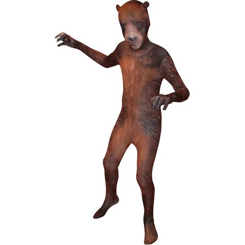 Morphsuits Premium Grizzly Bear Animal Planet, Brown/Black, Large Skinsuit