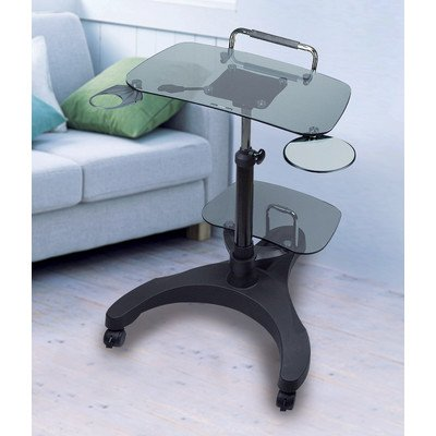 Aidata LPD011G Sit/Stand Mobile Laptop Workstation with Smoked Tempered Safety Glass and Printer Shelf