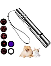 Cat Laser Pointer Toy, Upgraded 7-in-1 Indoor Interactive Kitten Cat Toy, USB Rechargeable LED Light Pointer, Toy for Cat Dog Chasing Play and Training Exercise (Silver)