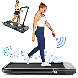 FUNMILY Treadmill,Under Desk Folding Treadmills for Home,2-in-1 Running, Walking&Jogging Portable Running Machine with Bluetooth Speaker & Remote Control,5 Modes & 12 Programs,No Assembly Required