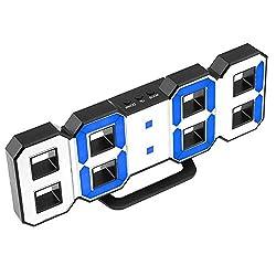 perfeo Minimalist LED Clock with 3 Adjustable Brightness Levels Digital LED Desk Clock/Wall Clock/Alarm Clock (Black, Blue)
