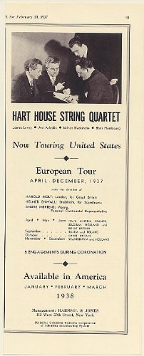 1937 Hart House String Quartet James Levey Arn Adaskin Milton Blackstone Boris Hambourg Photo Booking Print Ad (Memorabilia) (55272)