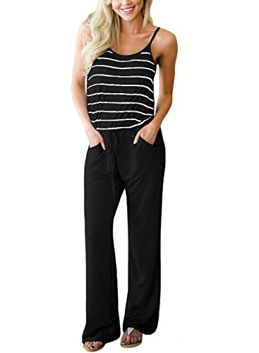 Casual Wide Leg - Sidefeel Women Casual Sleeveless Striped One Piece Jumpsuit Loose Wide Leg Pants Romper Large Black