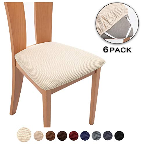 TIANSHU Spandex Jacquard Dining Room Chair Seat Covers,Removable Washable Elastic Cushion Covers for Upholstered Dining Chair (6 Pack, Ivory)