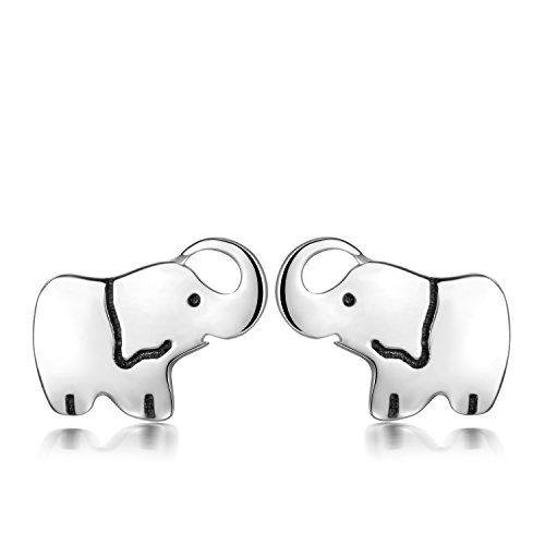 YAXING 925 Sterling Silver Nickel Free Mini Good Luck Elephant Stud Women Earrings (Elephant Stud Earring)