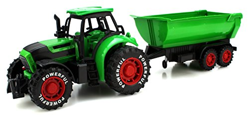 Power Farm Tractor Trailer Children's Kid's Friction Powered Toy Truck Playset (Green)