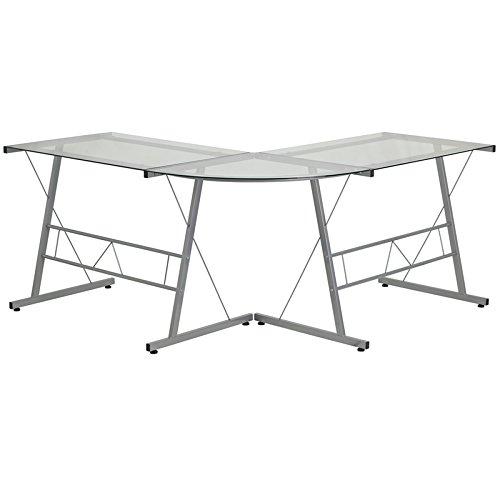Flash Furniture Glass L-Shape Computer Desk with Silver Frame Finish