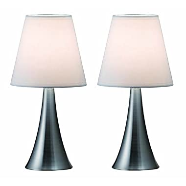 Simple Designs LT2014-WHT-2PK Valencia Brushed Nickel 2 Pack Mini Touch Table Lamp Set with Fabric Shades, White