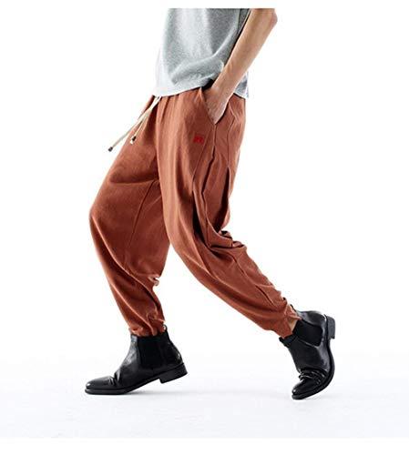 Otoño Sólido Arranque Cómodo De Color Moda Con Los Hombres Casuales Primavera Rot Battercake Jogging Chándal Lino Pantalones CUxtqt