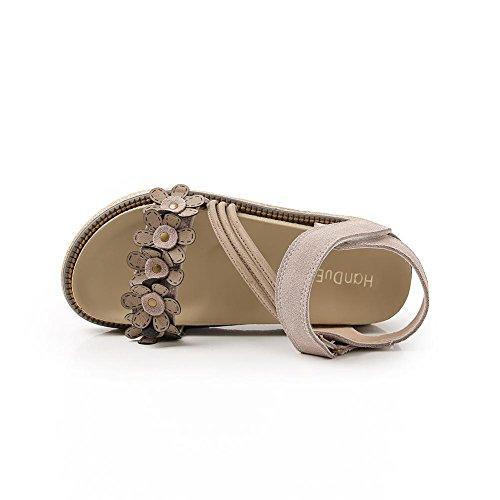 KJJDE Sandalias Mujer Zapatilla Chanclas hah-L-K2 Delicadas Flores Conveniente Velcro de Personalidad Confort Peep Toe Tacón Zapatos Para Caminar Camel