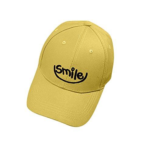 (LIULIULIUWomen's Embroidery Letter Smile Baseball Cap Hat Hip Hop Flat Hat (Yellow))