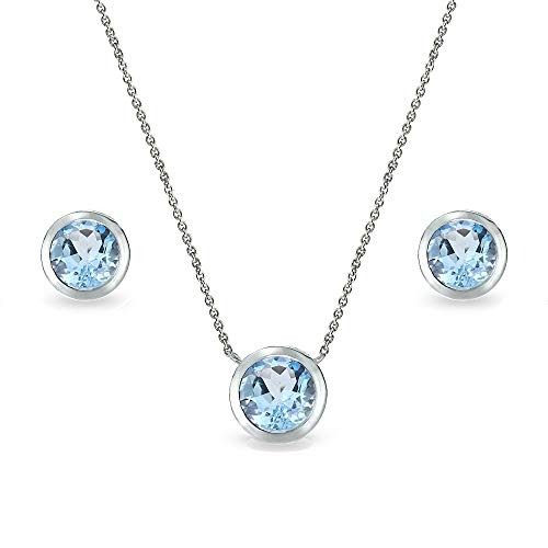 - Sterling Silver Blue Topaz 7mm Round Bezel-Set Solitaire Dainty Necklace and Stud Earrings Set for Teen Girls