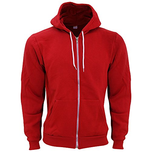 American Apparel Unisex Flex Plain Full Zip Fleece Hoodie (S) (Red)