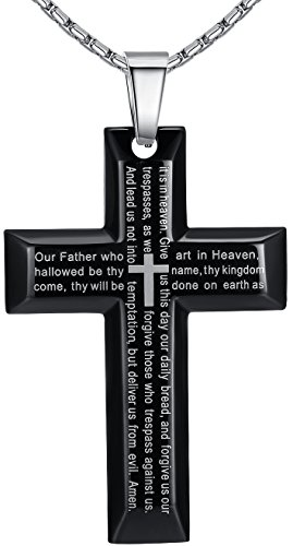 Men's Stainless Steel Large Lord's Prayer Cross Pendant Necklace, Black Color, 23