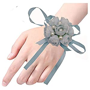 Arlai Pack of 2 Girl Bridesmaid Wedding Wrist Corsage Party Prom Hand Flower Decor (Blue) 21