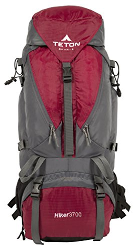 TETON Sports 1005 Hiker 3700 Ultralight Internal Frame Backpack – Not Your Basic Backpack; High-Performance Backpack for Hiking, Camping, Travel, and Outdoor Activities; Sewn-In Rain Cover; Red