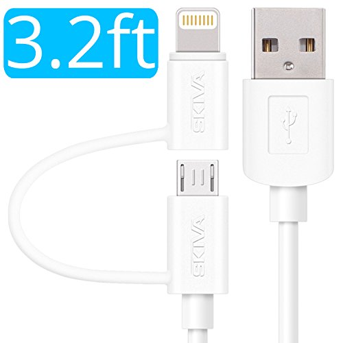 (Apple MFi Certified Lightning Cable - Skiva USBLink Duo 2-in-1 Sync and Charge Cable (3.2 ft / 1m) with Lightning & microUSB for iPhone X 8 7 Plus SE, iPad Air, Samsung Galaxy S7 (White) [Model:CB104])