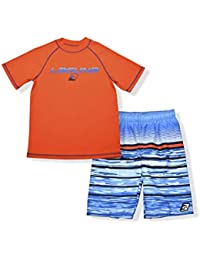 Boys UPF 50+ Swim Set with Short Sleeve Rashguard Sun Shirt and Print Boardshorts