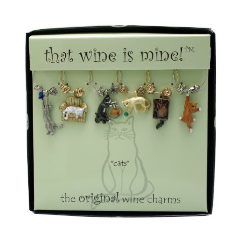 Cats Wine Charms, Painted