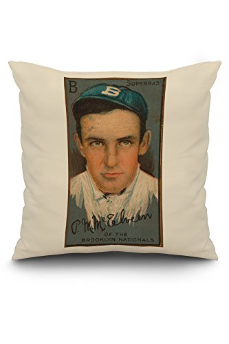 Brooklyn Superbas - Pryor McElveen - Baseball Card (20x20 Spun Polyester Pillow, White Border)