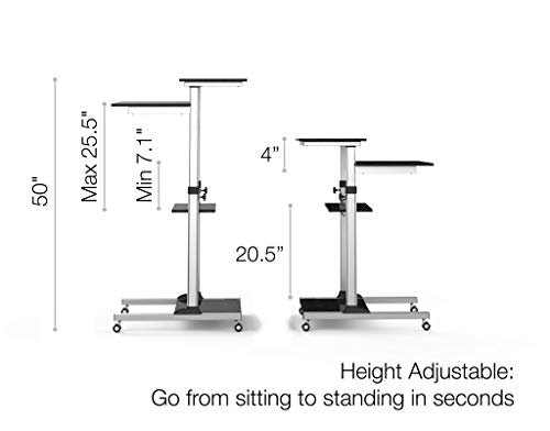 Mobile Standing Desk - TechOrbits Rolling Workstation Cart - Stand Up Media Podium Mobile Desk - Height Adjustable Presentation Computer Cart by TechOrbits (Image #1)