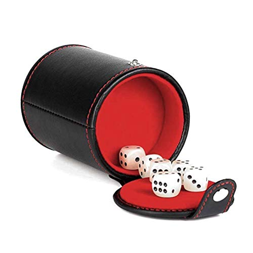 Cooyeah Leather Dice Cup with Lid Quiet Shaker Dice Stacking Set with 5 Dices for Yahtzee, Farkle, Craps, Backgammon, Bar Party Dice - Leather Backgammon Dice Cup