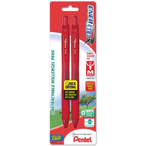 Pentel EnerGel-X Retractable Liquid Gel Pen 0.7mm, Metal Tip, Medium, Red Ink, (2 Pack) (BL107BP2B)
