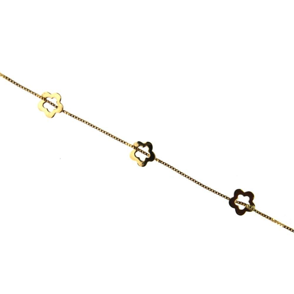 18K yellow gold open flower bracelet 5.8 inch