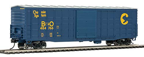 - 50' WAFFLE-SIDE BOXCAR - READY TO RUN -- CHESSIE SYSTEM B&O 484766 (SUPERIOR DOORS, BLUE, YELLOW)