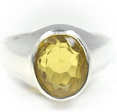 Jewelryonclick Sterling Silver Bold 7 Carat Yellow Citrine Ring For Men