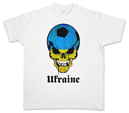 CLASSIC UKRAINE FOOTBALL SKULL FLAG T-SHIRT – Fußball Fan Hooligan Totenkopf Banner Fahne Ukrainian T-Shirt Größen S - 5XL