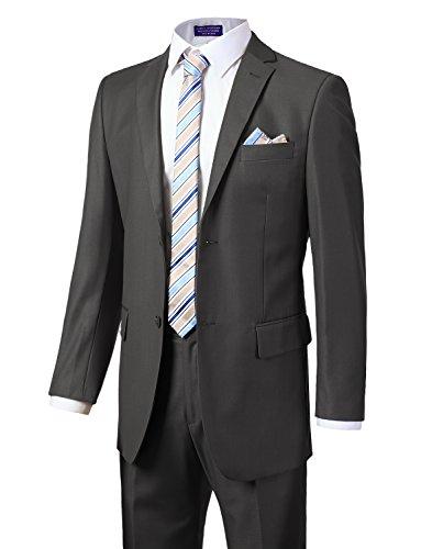 MONDAYSUIT Men's Modern Fit 2-Piece Suit Blazer Jacket Trousers Set Charcoal 60R by MONDAYSUIT