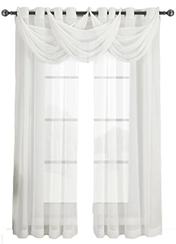 Abri White Waterfall Grommet Crushed Sheer Valance, 24x24 inches, by Royal Hotel