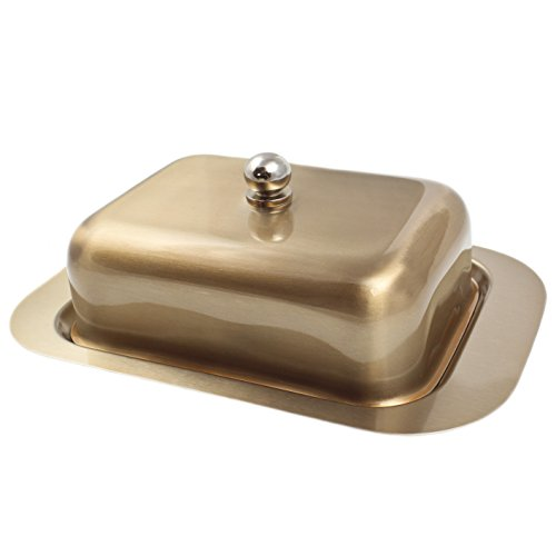 Zoie + Chloe Stainless Steel Butter Dish with Easy to Hold Lid ()