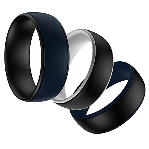 SHAREMORE Silicone Wedding Ring 3 Color Rings Packs Skin Safe Soft Silicone Rubber Wedding Bands for Man or Woman, Comfortable Step Edge Sleek Durable Design Classic Style (11.5-12(21.4mm)) ()