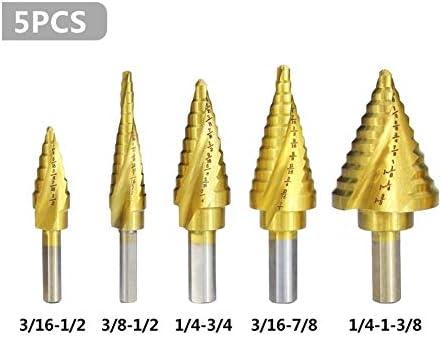 Step Cone Drill Bit Set HSS Stepped Drill Bit Stepped Cone Drill Bit 5pcs Titanium Coated Wood Metal Hole Drill Bit