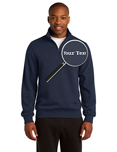 Custom Sweatshirt Embroidered - Custom Embroidered Quarter Zip Sweatshirts - Personalized Embroidery Sweaters True Navy