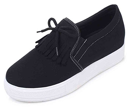 Sfnld Vrouwen Casual Strik Kwastje Laag Uitgesneden Slip Op Platform Verborgen Hak Sneakers Canvas Schoenen Zwart