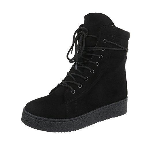 de Negro Plano Zapatos para Design mujer Ital Botas Botines cordones nWWXvAz