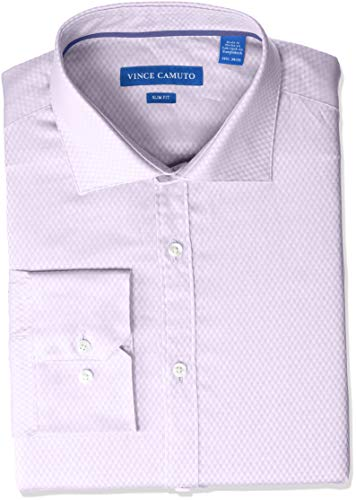 VINCE CAMUTO Men's Slim Fit Spread Collar Solid Dress Shirt, Grape Diamond Dobby 17.5 34/35