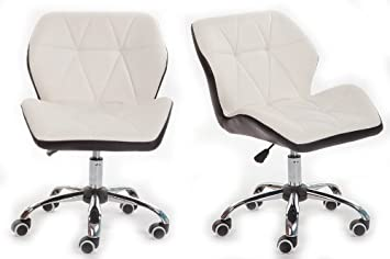 white luxury computer office desk chair pu leather swivel adjustable